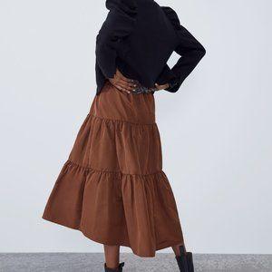 Zara TAFFETA SKIRT-brown-8475/201-midi-NWT